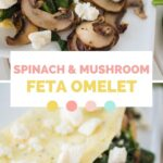 pinterest graphic showing two pictures of the omelet and text