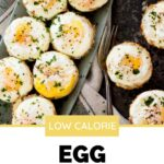 egg baskets on a platter with a pinterest graphic