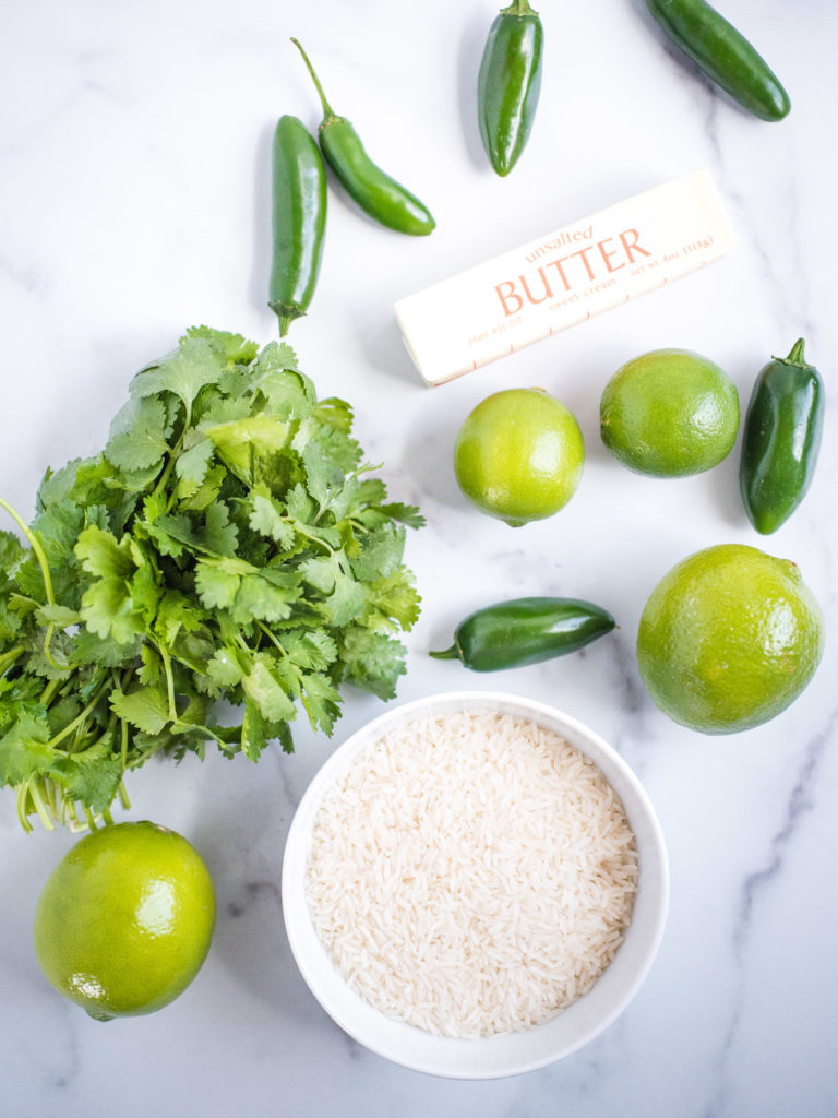 ingredients used including jalapeno, lime, rice, cilantro and butter