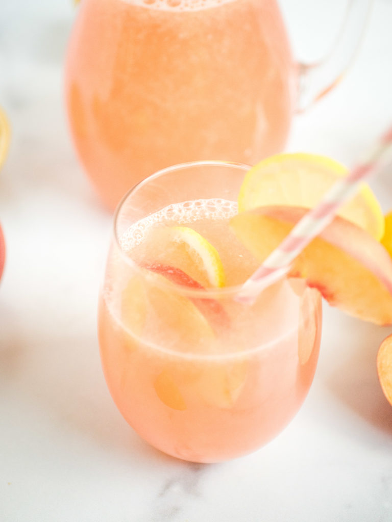 up close shot of peach lemonade