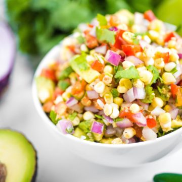 up close shot of avocado corn salsa