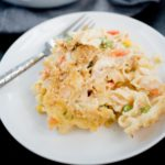 chicken noodle casserole serving on a white plate