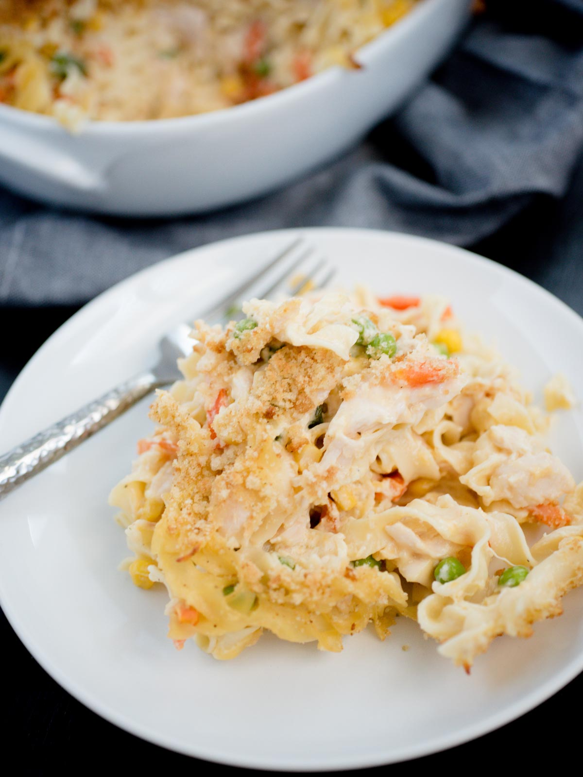 serving of chicken noodle casserole on white plate