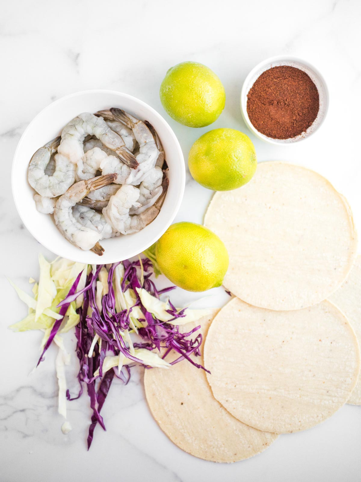 ingredients for chili lime shrimp tacos