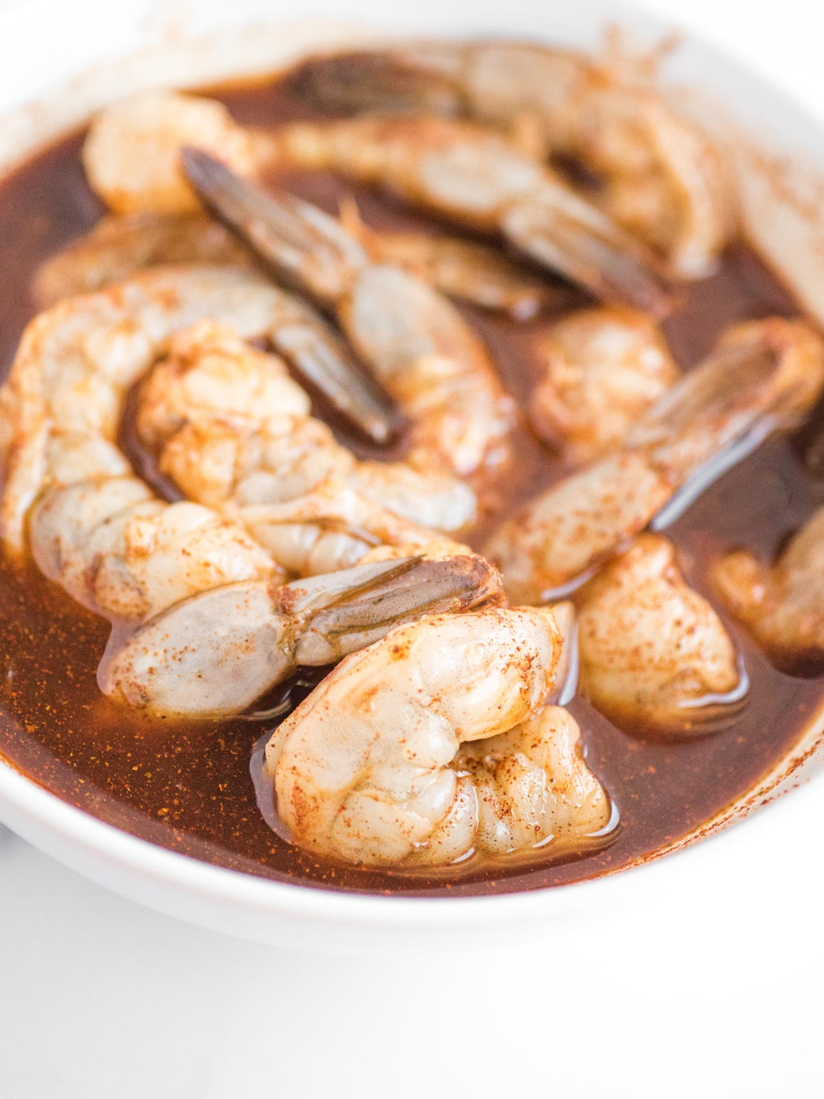bowl of shrimp in chili lime marinade