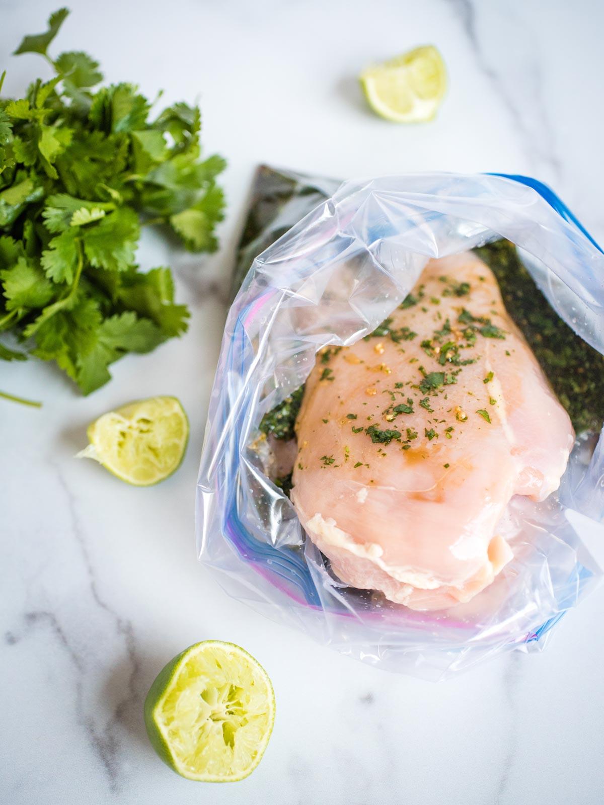 marinated chicken in a ziploc bag