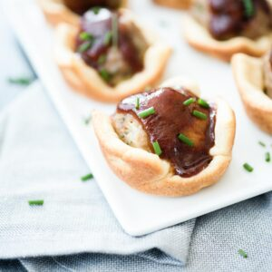 Game Day BBQ Bites on a white plate