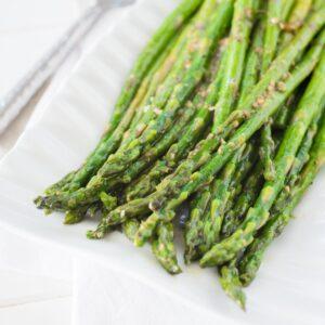 asparagus on a white plate