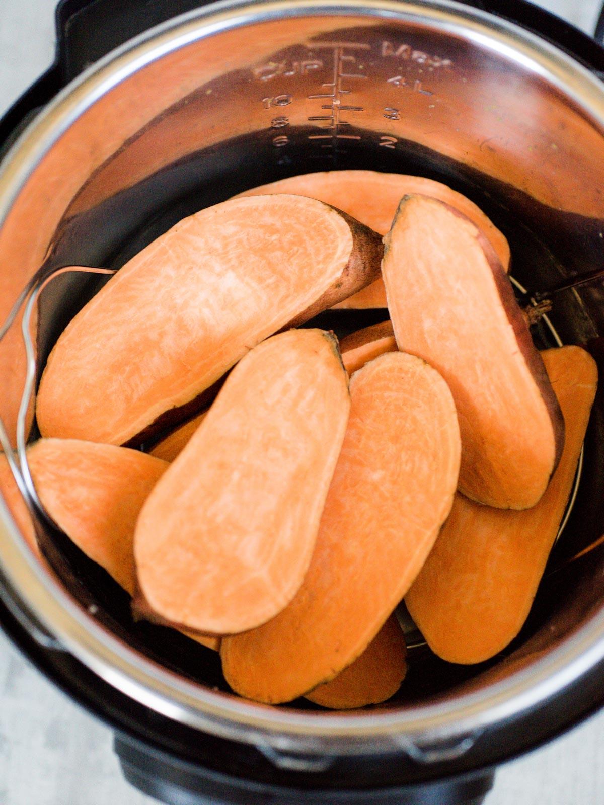 sweet potatoes inside an instant pot