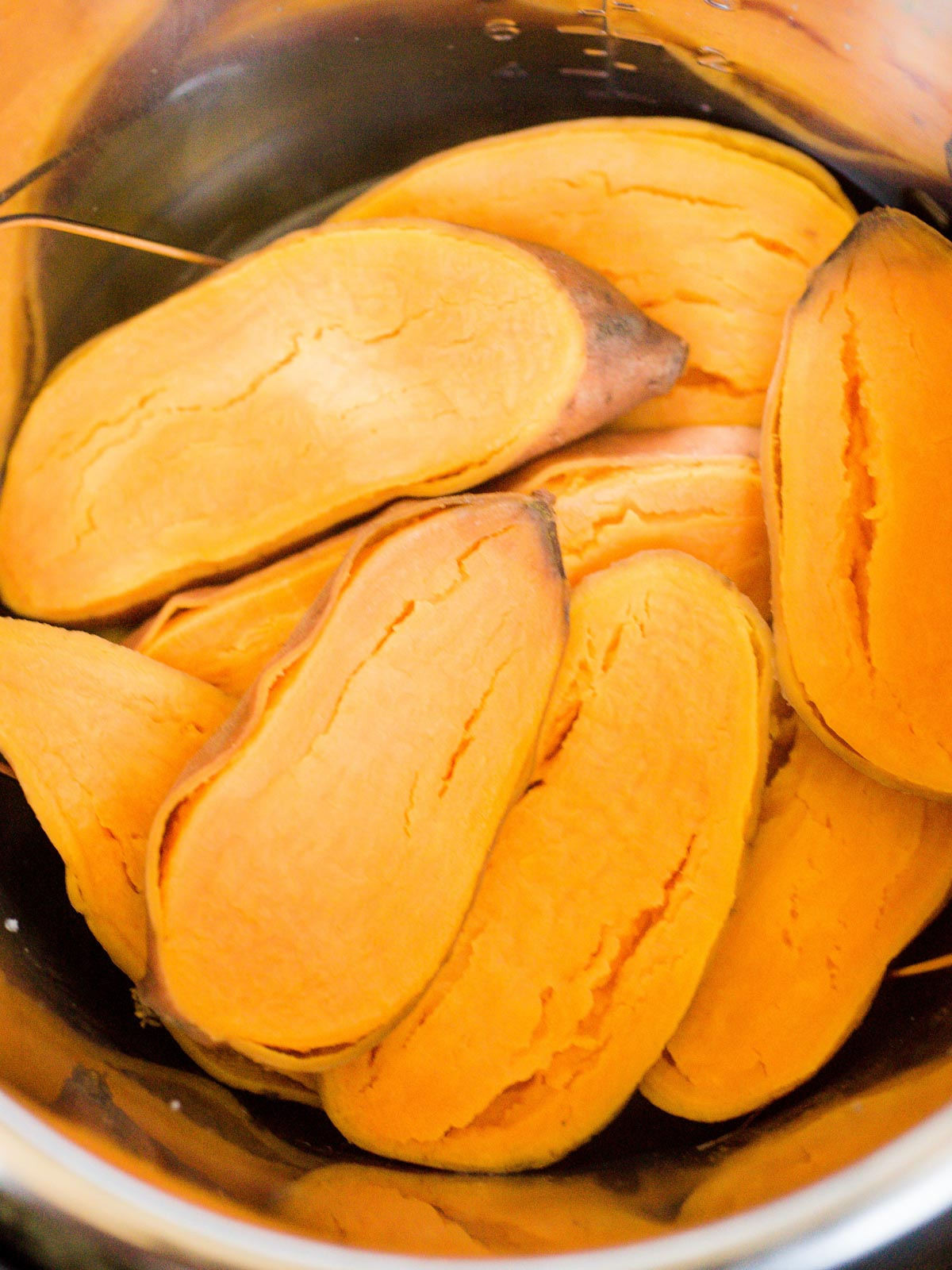 cooked sweet potatoes inside of an instant pot