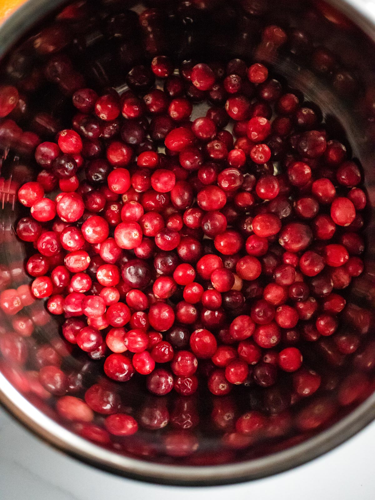 instant pot sleeve filled with cranberries
