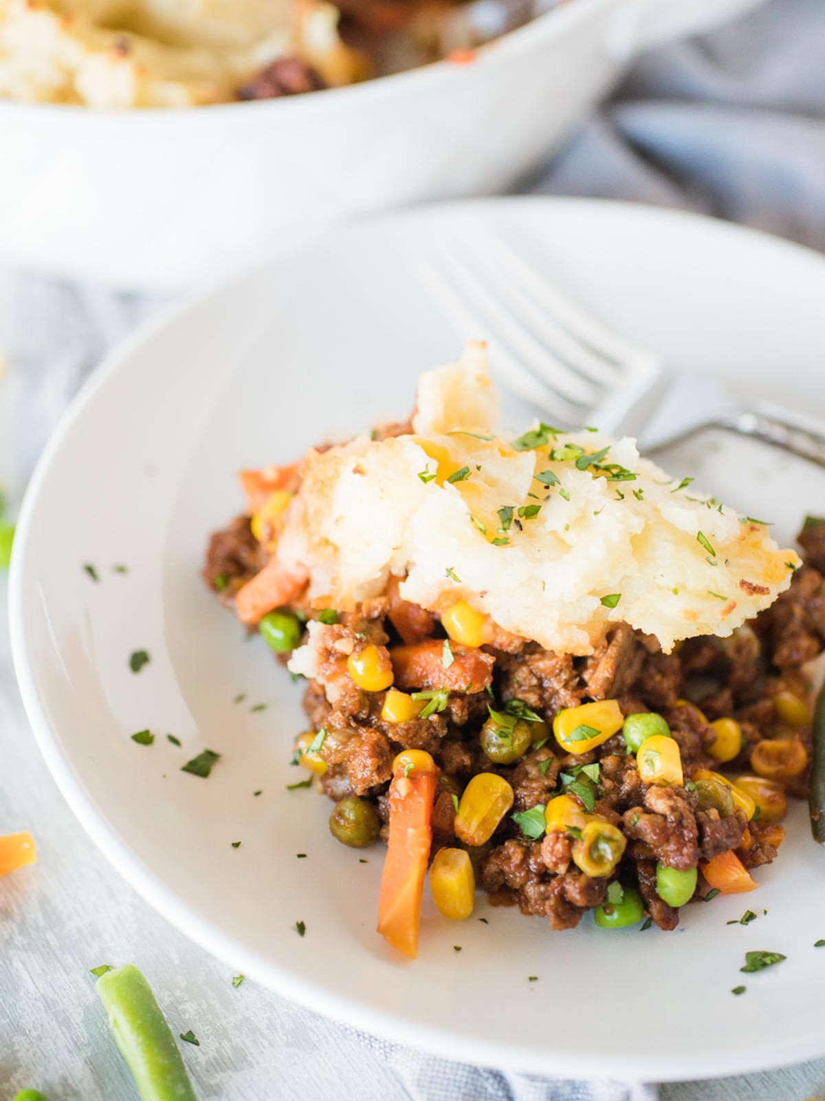 a serving of shepherds pie in a white shallow bowl