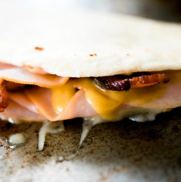 quesadilla on a baking sheet