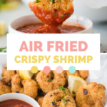 pinterest graphic text with air fried shrimp in a basket and being dipped in cocktail sauce