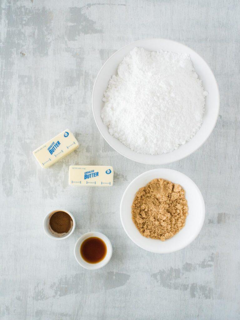 ingredients for cinnamon sugar frosting