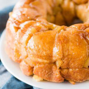 apple cinnamon monkey bread on white plate
