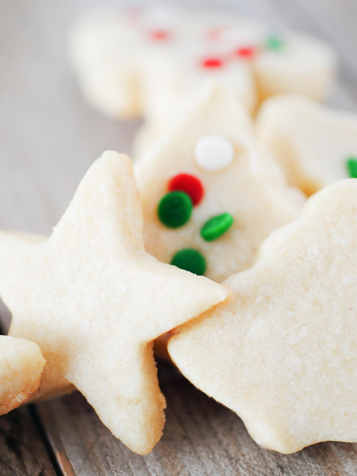 christmas sugar cut out cookies stacked