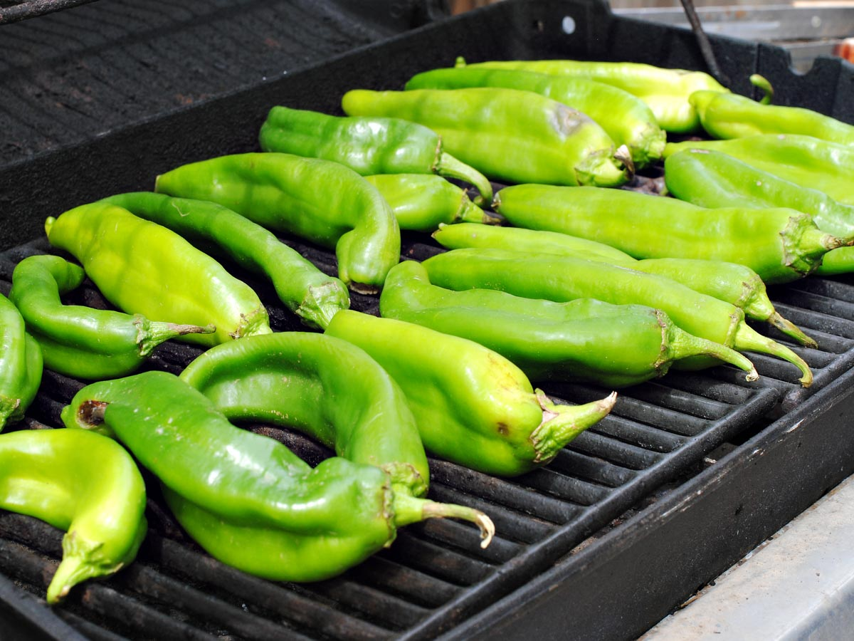green chiles on a grill