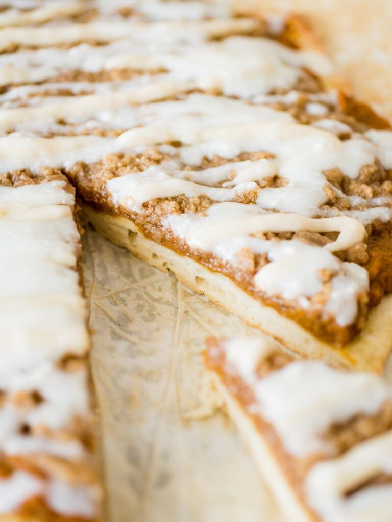 the side of a slice of pumpkin dessert pizza