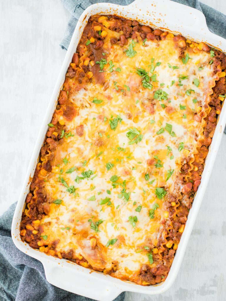 tex mex lasagna in a casserole dish