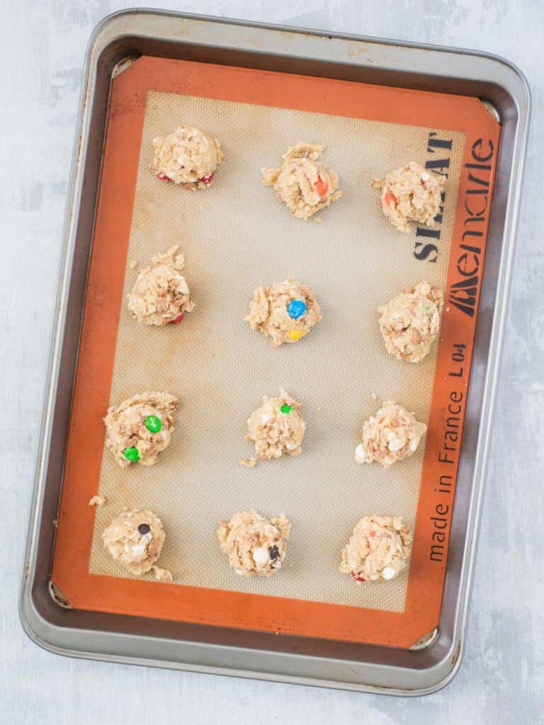 Chocolate Rice Krispies Cookies on a baking sheet