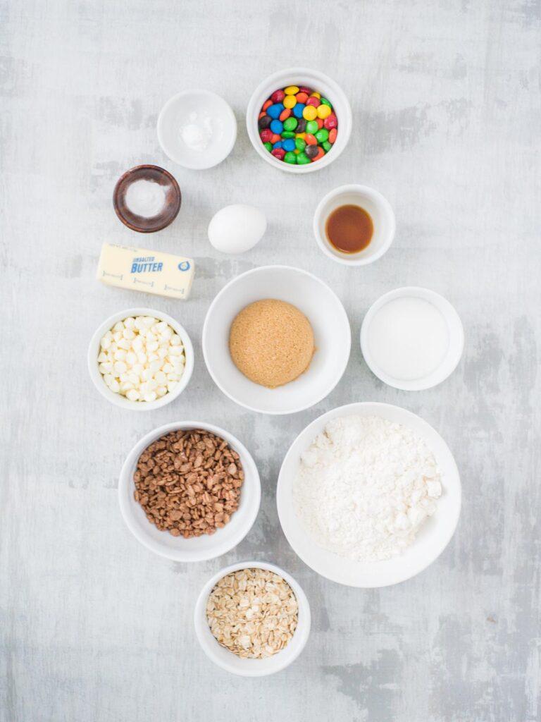 ingredients for Chocolate Rice Krispies Cookies