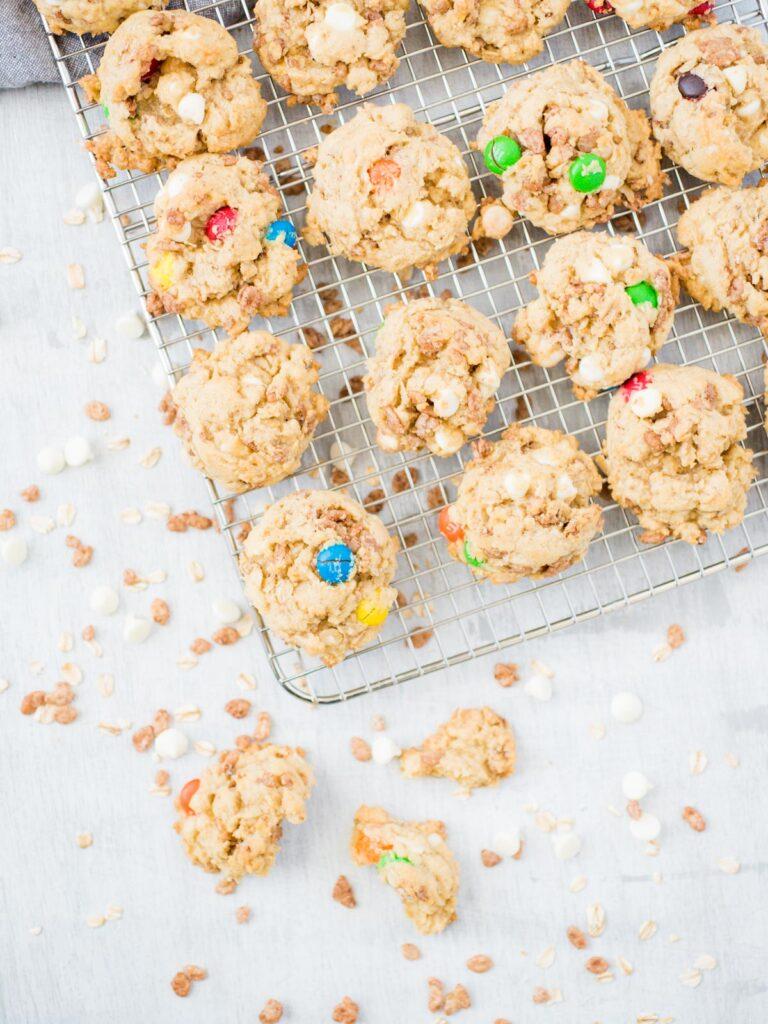Chocolate Rice Krispies Cookies cookies on a cooling rack