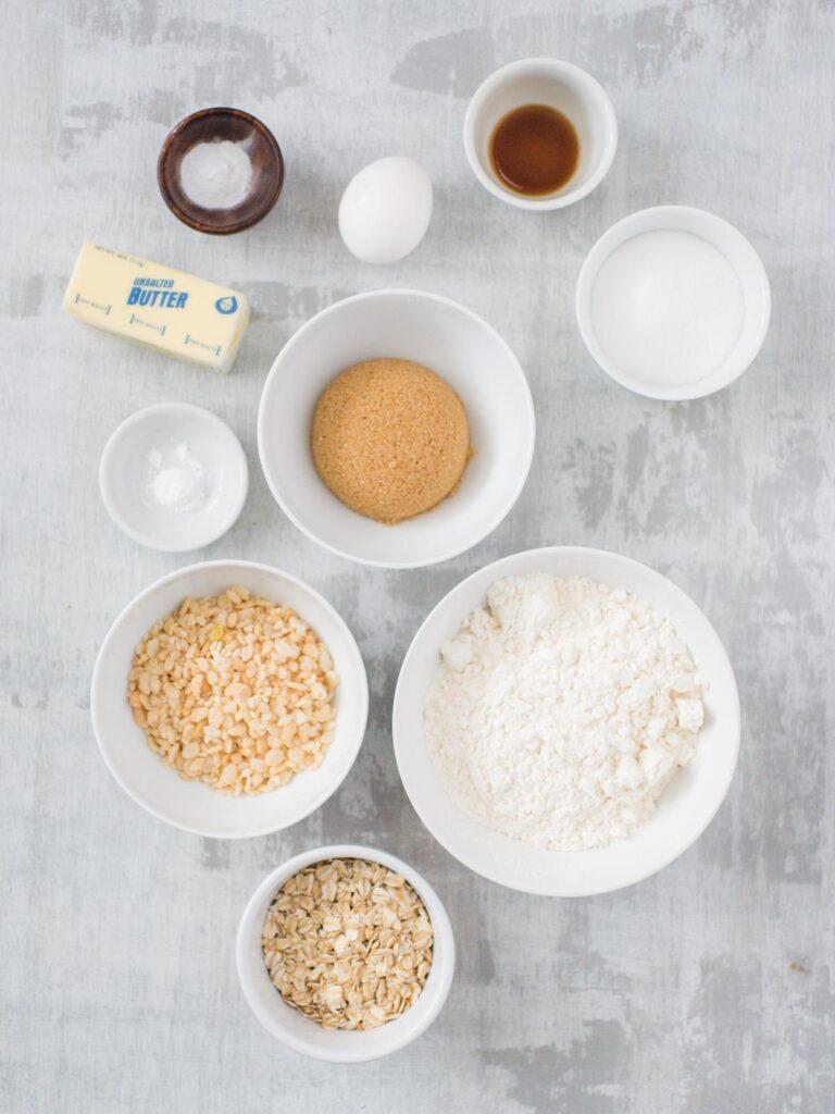 ingredients for rice krispie oatmeal cookies