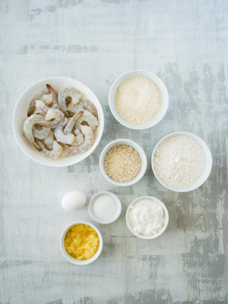 ingredients for air fryer coconut shrimp with creamy pineapple dipping sauce
