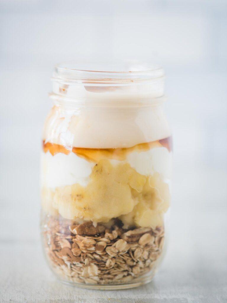 almond milk added to jar of ingredients