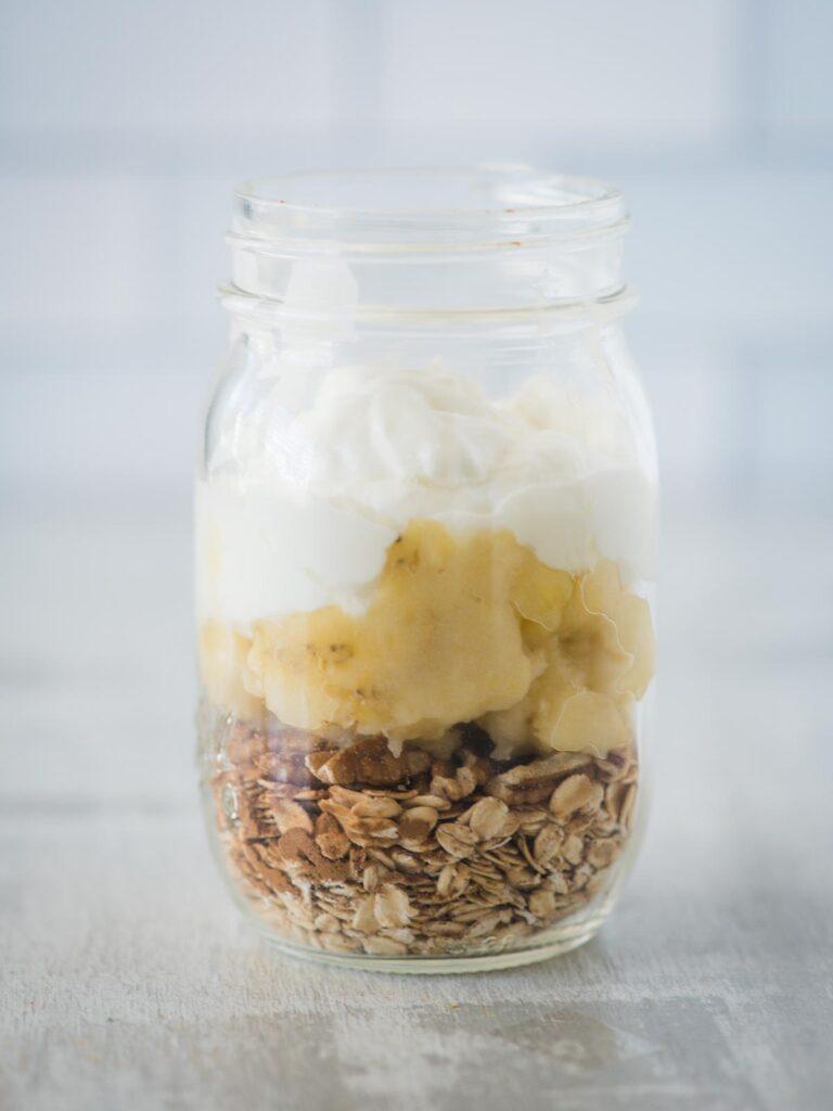 greek yogurt added to jar of ingredients