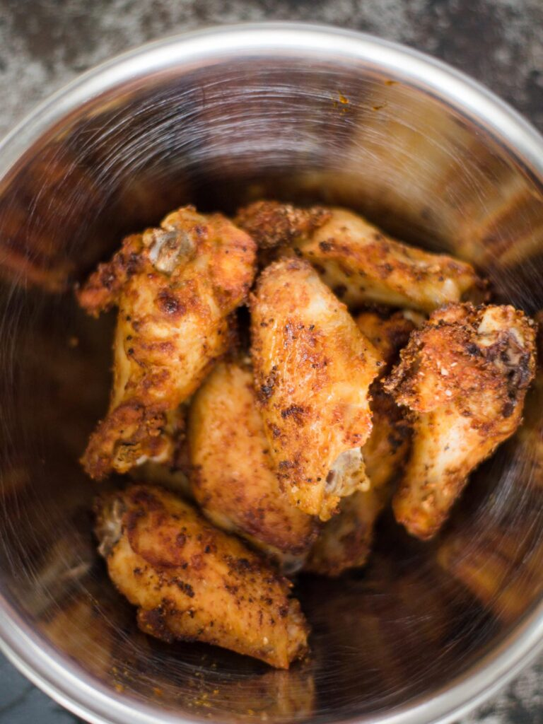 air fried chicken wings in a bowl