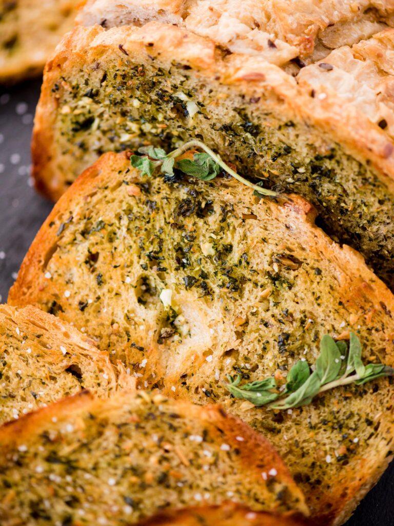 details of easy garlic bread with oregano