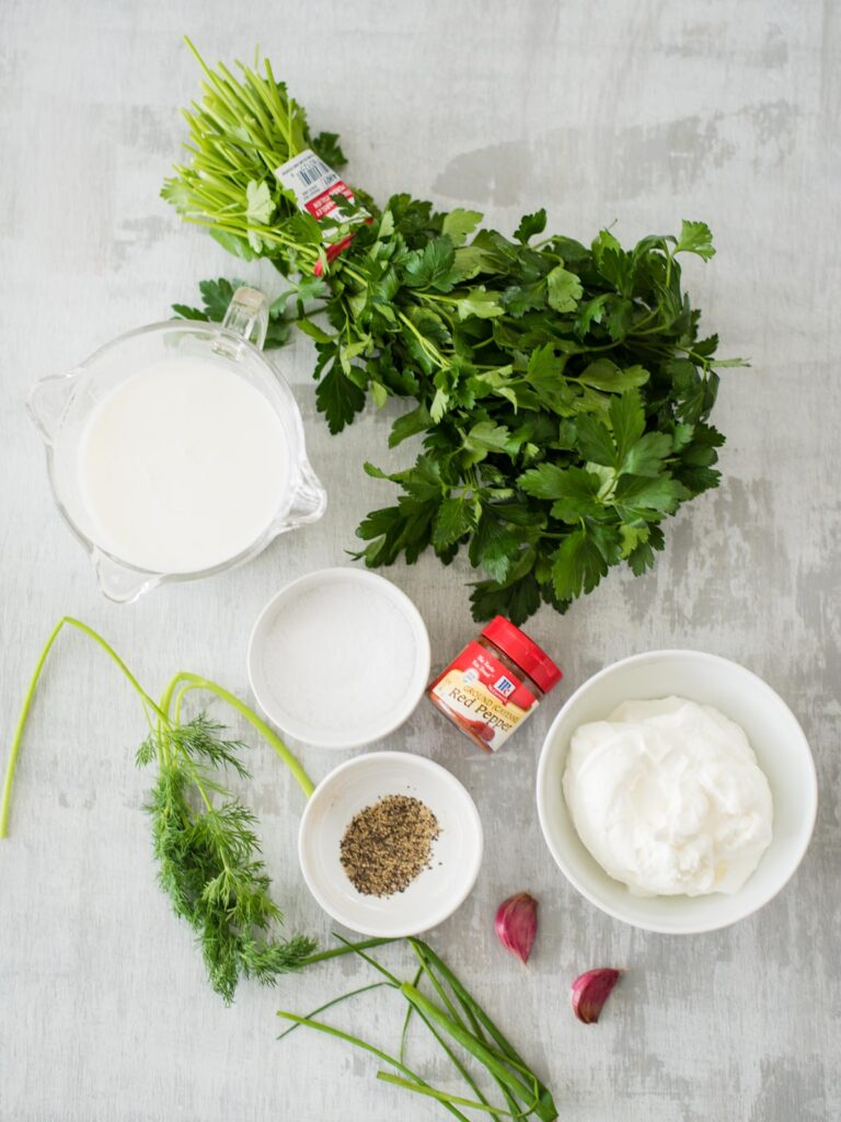 ingredients for Homemade Buttermilk Ranch Dressing