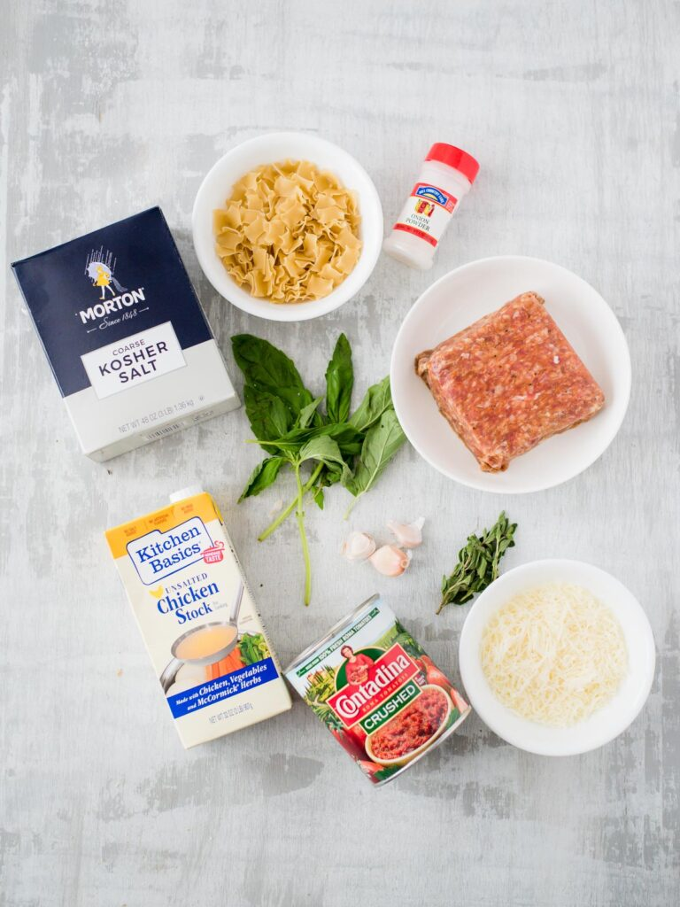ingredients for one-pot lasagna soup