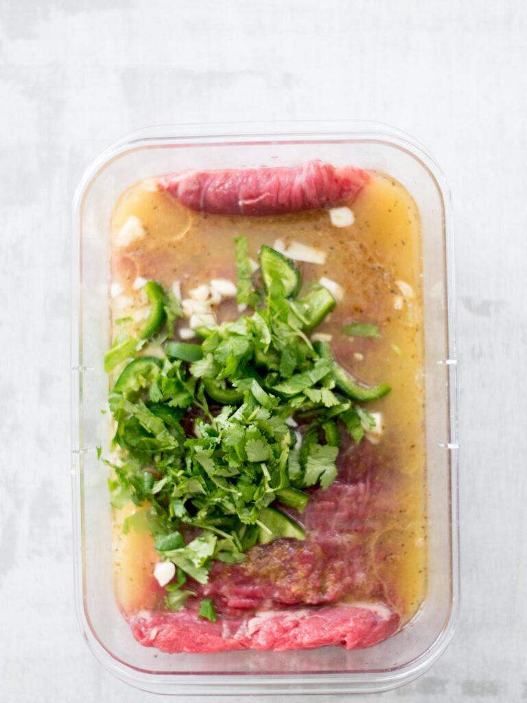 cilantro added to flank steak