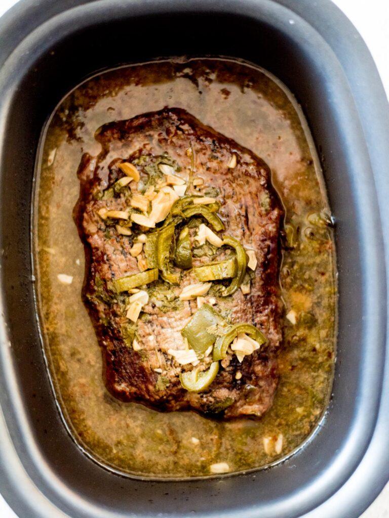 slow cooker carne asada in crockpot