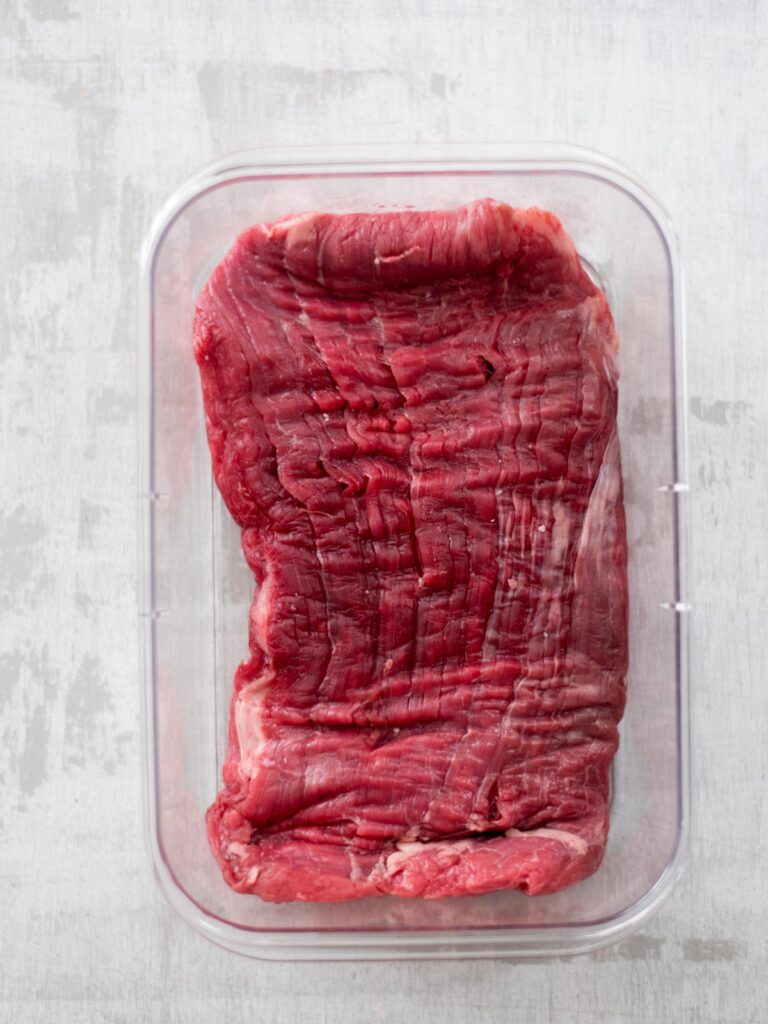 flank steak in container