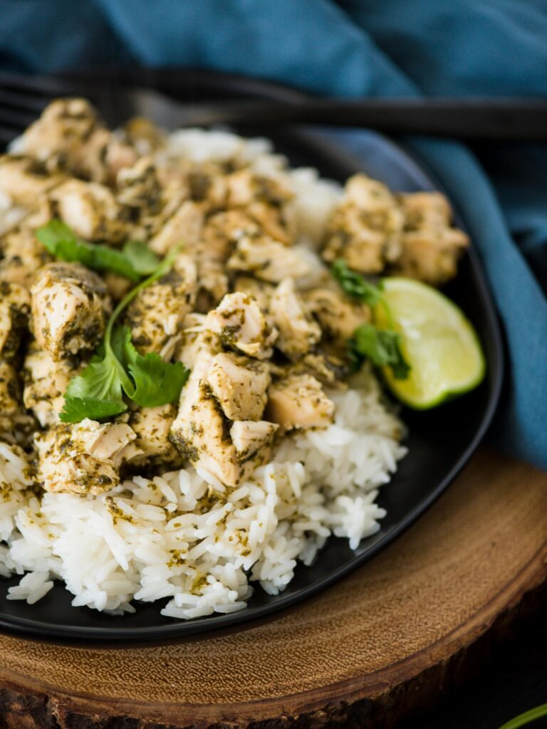 slow cooker cilantro lime chicken on a plate