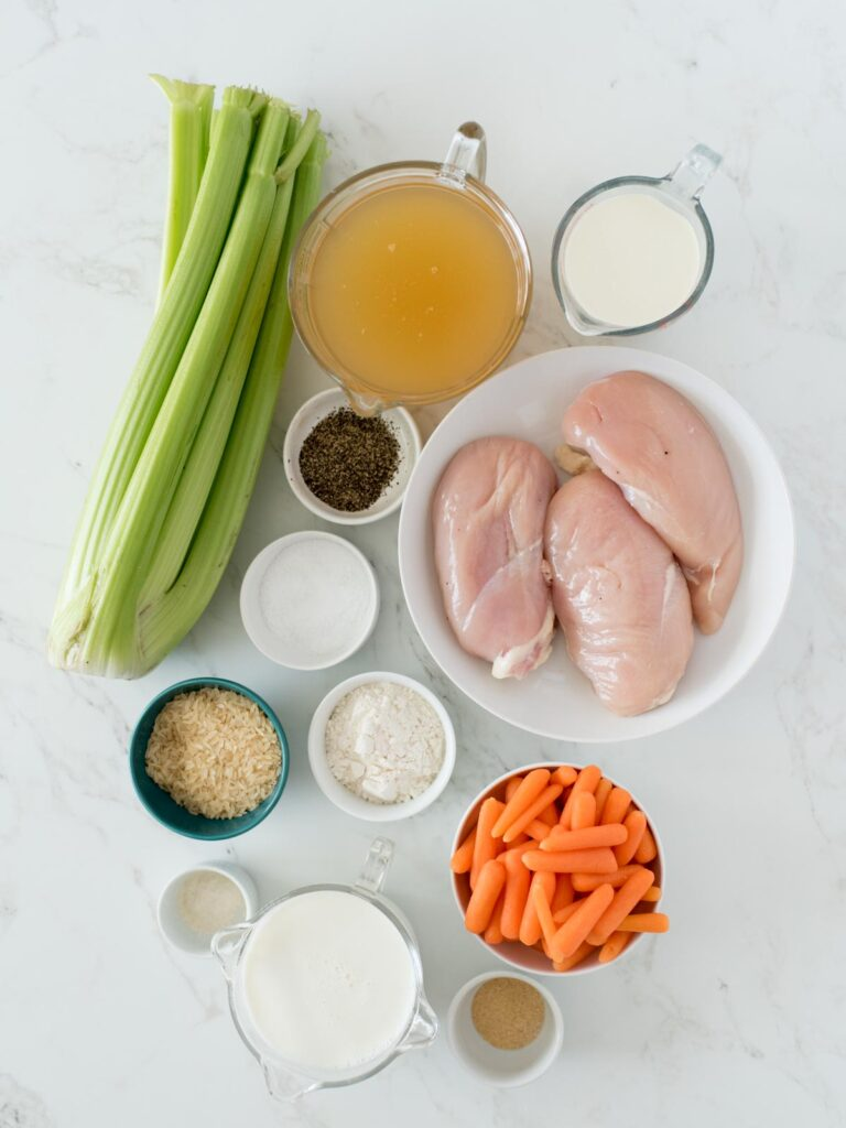 ingredients for creamy chicken and rice soup