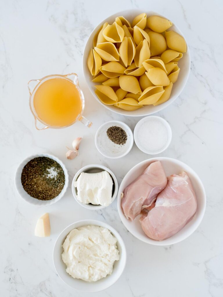 ingredients for creamy chicken and ricotta stuffed shells
