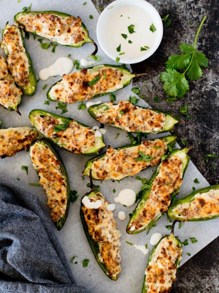Easy Baked Jalapeno Poppers with ranch and cilantro