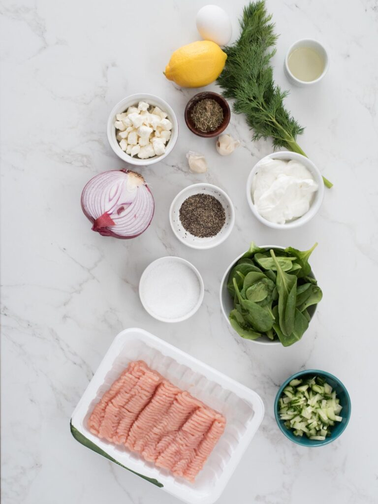 ingredients for greek turkey burger with tzatziki sauce