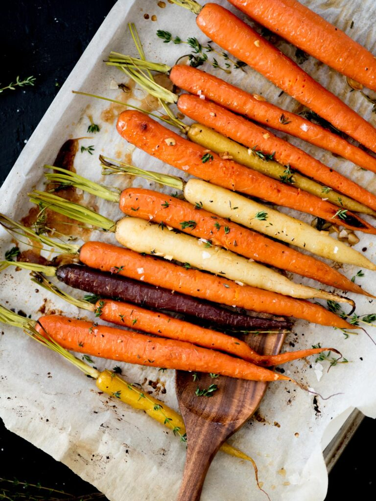 Oven Roasted Brown Sugar Garlic Carrots