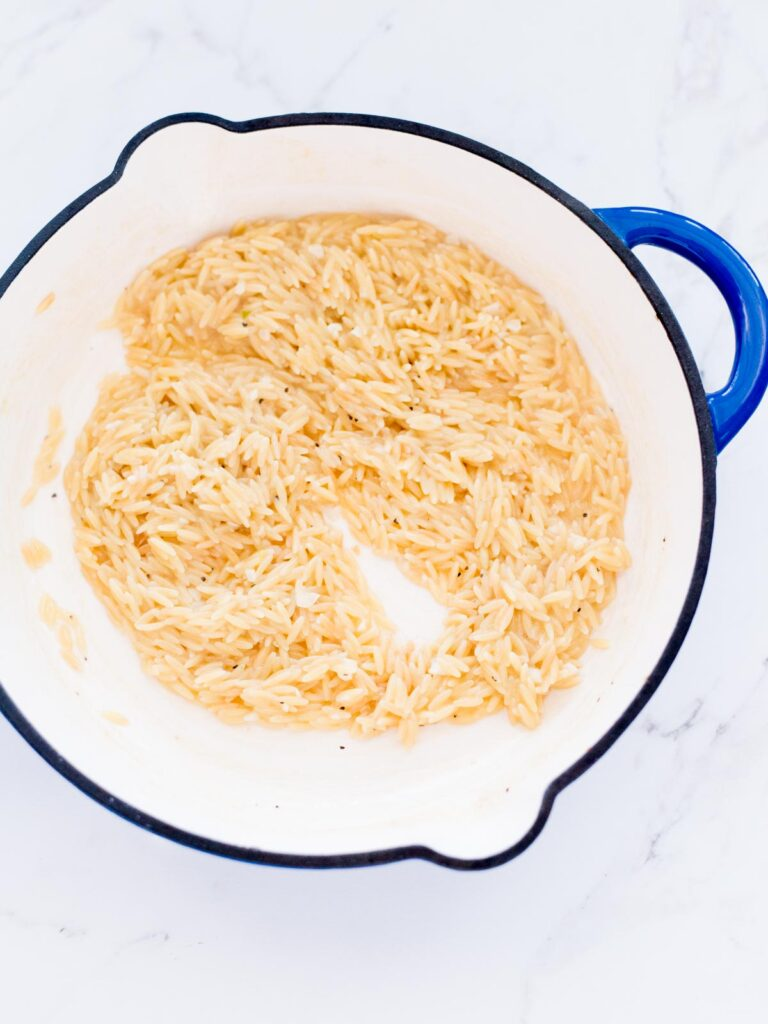 cooked orzo after liquid has been absorbed
