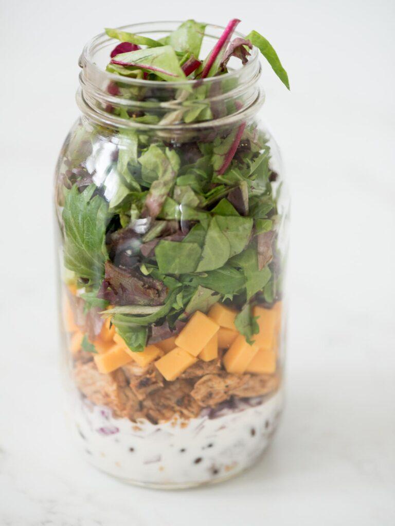 bbq chicken mason jar salad without a lid
