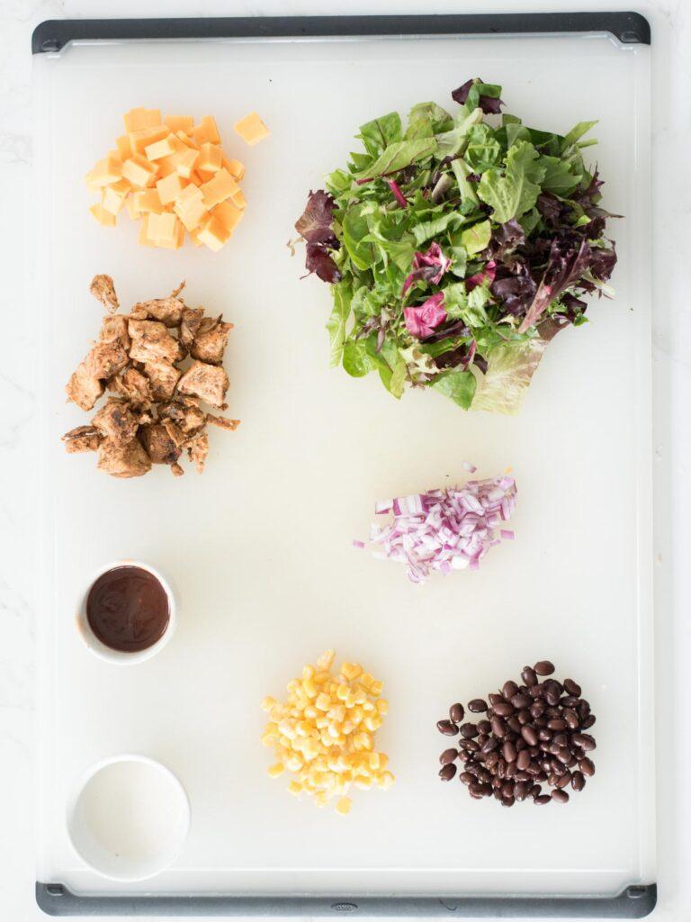 ingredients for bbq chicken mason jar salad