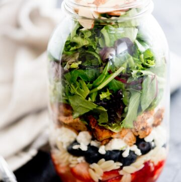 berry orzo mason jar salad