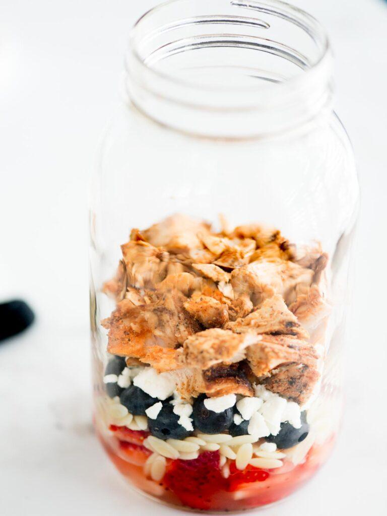 add chicken to mason jar with other ingredients