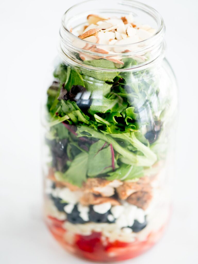 almonds added to top of greens